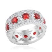 Simulated Red Diamond, Simulated Diamond Silvertone Ring (Size 9.0) TGW 8.960 cts.