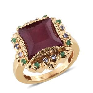 SUGAR by Gay Isber Niassa Ruby, Multi Gemstone 14K YG Over Sterling Silver Ring (Size 6.0) TGW 11.020 cts.