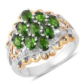 Russian Diopside, White Topaz 14K YG Over and Sterling Silver Openwork Ring (Size 8.0) TGW 2.570 cts.