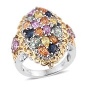 Multi Sapphire, White Topaz 14K YG and Platinum Over Sterling Silver Openwork Ring (Size 10.0) TGW 4.480 cts.