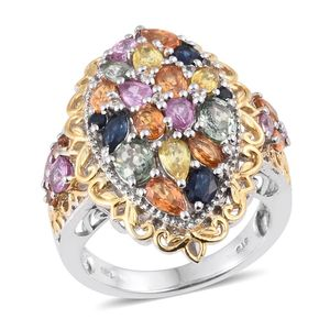 Multi Sapphire, White Topaz 14K YG and Platinum Over Sterling Silver Openwork Ring (Size 7.0) TGW 4.48 cts.