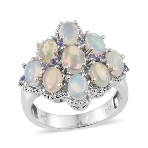 Ethiopian Welo Opal, Tanzanite Platinum Over Sterling Silver Ring (Size 8.0) TGW 4.500 cts.