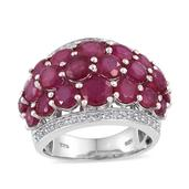 Niassa Ruby, White Topaz Platinum Over Sterling Silver Cluster Ring (Size 8.0) TGW 10.460 cts.