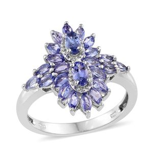Tanzanite Platinum Over Sterling Silver Ring (Size 7.0) TGW 2.330 cts.