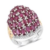 Niassa Ruby, White Topaz 14K YG and Platinum Over Sterling Silver Cluster Knuckle Ring (Size 6.0) 0 TGW 9.740 cts.