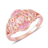Marropino Morganite, Madagascar Pink Sapphire 14K RG Over Sterling Silver Ring (Size 9.0) TGW 1.350 cts.