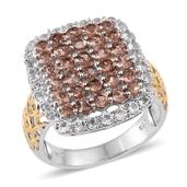 Jenipapo Andalusite, White Topaz 14K YG and Platinum Over Sterling Silver Ring (Size 10.0) TGW 3.99 cts.