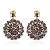 Jenipapo Andalusite, Thai Black Spinel 14K YG and Platinum Over Sterling Silver Dangle Earrings TGW 8.77 cts.