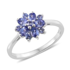 Premium AAA Tanzanite Platinum Over Sterling Silver Ring (Size 6.0) TGW 1.150 cts.