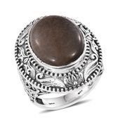 Black Feldspar Sterling Silver Ring (Size 7.0) TGW 14.60 cts.