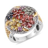 Multi Sapphire, White Topaz 14K YG and Platinum Over Sterling Silver Ring (Size 10.0) TGW 4.260 cts.