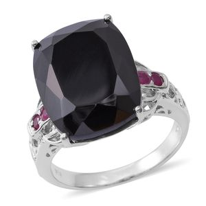 Thai Black Spinel, Ruby Platinum Over Sterling Silver Openwork Cocktail Ring (Size 10.0) TGW 26.98 cts.