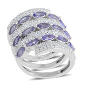 Tanzanite, White Topaz Platinum Over Sterling Silver Spiral Ring (Size 5.5) TGW 3.37 cts.