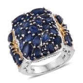 Kanchanaburi Blue Sapphire 14K YG and Platinum Over Sterling Silver Ring (Size 8.0) TGW 9.320 cts.