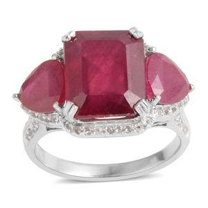 Niassa Ruby, White Topaz Sterling Silver Ring (Size 8.5) TGW 13.020 cts.