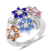 Multi Color Austrian Crystal Stainless Steel Floral Ring (Size 9.0)