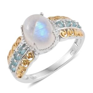 Sri Lankan Rainbow Moonstone, Madagascar Paraiba Apatite 14K YG and Platinum Over Sterling Silver Openwork Ring (Size 6.0) TGW 3.650 cts.