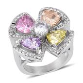 Simulated Multi Color Diamond, Austrian Crystal Stainless Steel Flower Ring (Size 7.0) TGW 12.000 cts.