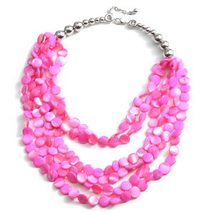 Pink Shell Silvertone Multi Strand Drape Necklace (18-20 in)