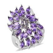 Simulated Purple Diamond, Purple Austrian Crystal Stainless Steel Ring (Size 7.0) TGW 20.00 cts.