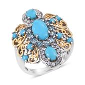 Arizona Sleeping Beauty Turquoise, Electric Blue Topaz, White Topaz 14K YG and Platinum Over Sterling Silver Openwork Statement Ring (Size 6.0) TGW 4.180 cts.