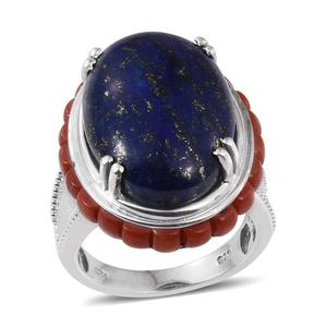 Lapis Lazuli, Mediterranean Coral Platinum Over Sterling Silver Statement Ring (Size 8.0) TGW 26.900 cts.