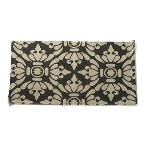 Black and Cream 100% Cotton Damask Bath Rug (20x31 In)