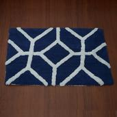 Navy and White Cotton Bath Rug (30x20 in)