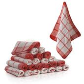 White & Red Check Pattern Cotton and Polyester 24 Piece Dish Cloth Set (12x12 in)