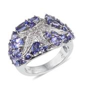 Tanzanite, White Topaz Platinum Over Sterling Silver Ring (Size 8.0) TGW 5.61 cts.