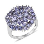 Tanzanite Platinum Over Sterling Silver Cluster Ring (Size 8.0) TGW 3.880 cts.