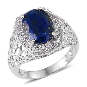 KARIS Collection - Lapis Lazuli, White Topaz Platinum Bond Brass Ring (Size 7.0) TGW 5.63 cts.