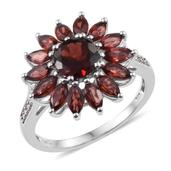 Mozambique Garnet, Diamond Platinum Over Sterling Silver Ring (Size 6.0) TDiaWt 0.02 cts, TGW 3.970 cts.