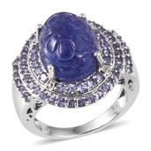Tanzanite, White Topaz Platinum Over Sterling Silver Ring (Size 10.0) TGW 16.120 cts.
