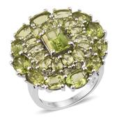 Hebei Peridot Platinum Over Sterling Silver Cluster Statement Ring (Size 7.0) TGW 13.900 cts.