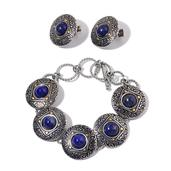 Lapis Lazuli ION Plated YG and Stainless Steel Earrings and Bracelet (7.50 In) TGW 35.000 cts.