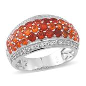 Jalisco Fire Opal, White Topaz Sterling Silver Openwork Cluster Ring (Size 7.0) TGW 2.84 cts.
