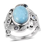 Larimar, Blue Topaz Sterling Silver Ring (Size 9.0) TGW 7.470 cts.