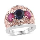 Kanchanaburi Blue Sapphire, Niassa Ruby 14K RG and Platinum Over Sterling Silver Openwork Ring (Size 8.0) TGW 7.15 cts.