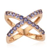 Tanzanite 14K YG Over Sterling Silver Open Double Band Criss Cross Ring (Size 7.0) TGW 1.650 cts.