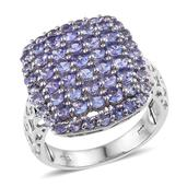Tanzanite Platinum Over Sterling Silver Openwork Cluster Ring (Size 7.0) TGW 3.320 cts.
