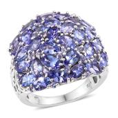 Tanzanite Platinum Over Sterling Silver Ring (Size 6.0) TGW 8.370 cts.