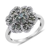 Narsipatnam Alexandrite, White Topaz Platinum Over Sterling Silver Ring (Size 8.0) TGW 1.800 cts.