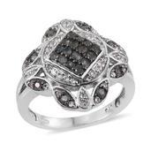 Narsipatnam Alexandrite, White Topaz Platinum Over Sterling Silver Ring (Size 9.0) TGW 1.14 cts.