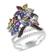 Jewel Studio by Prachi Multi Gemstone Platinum Over Sterling Silver Elongated Ring (Size 9.0) TGW 3.913 cts.