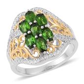 Russian Diopside, White Topaz 14K YG Over and Sterling Silver Openwork Ring (Size 7.0) TGW 2.100 cts.