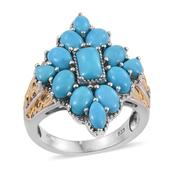Arizona Sleeping Beauty Turquoise 14K YG and Platinum Over Sterling Silver Ring (Size 5.0) TGW 5.100 cts.