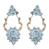 Madagascar Paraiba Apatite 14K YG and Platinum Over Sterling Silver Earrings TGW 3.38 cts.