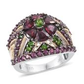 Jewel Studio by Shweta Orissa Rhodolite Garnet, Russian Diopside 14K YG and Platinum Over Sterling Silver Ring (Size 8.0) TGW 5.930 cts.