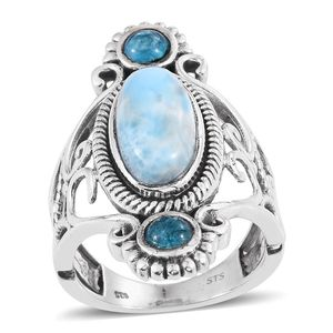 Larimar, Malgache Neon Apatite Sterling Silver Openwork Elongated Ring (Size 9.0) TGW 7.000 cts.